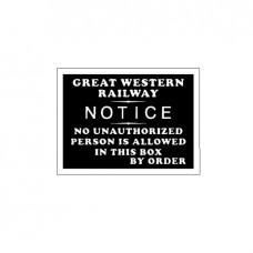 GWR 'Signal Box' Notice